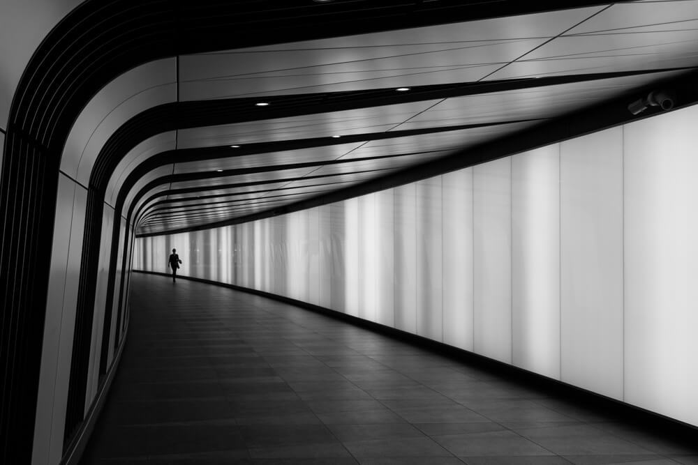 A photograph of the pedestrian tunnel at King's Cross in London