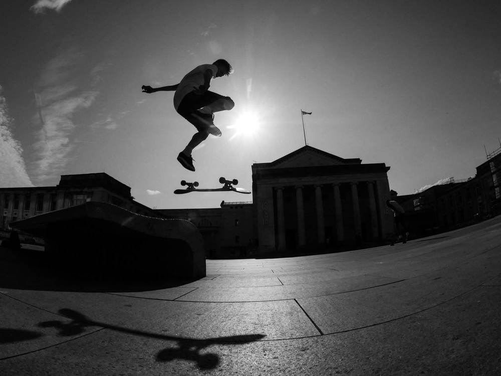 A photograph of a young skateboarder taken in Southampton using a Fisheye lens