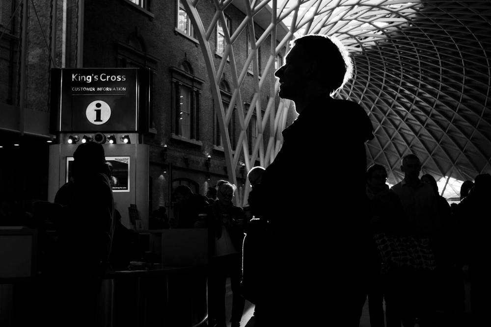 A silhouette of a man taken at King's Cross station in London as part of one to one street photography workshop.