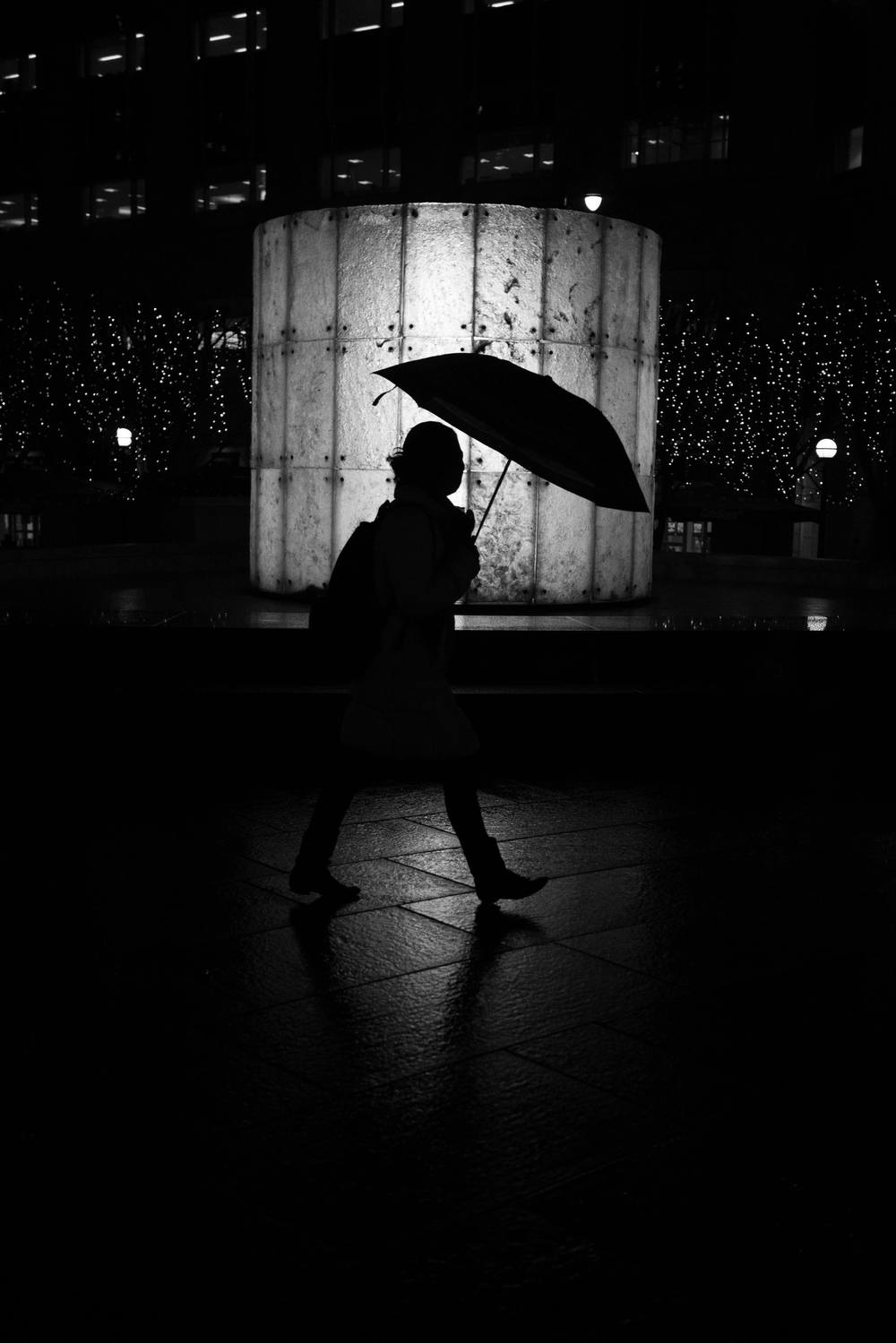 A silhouette taken in Canary Wharf in London.