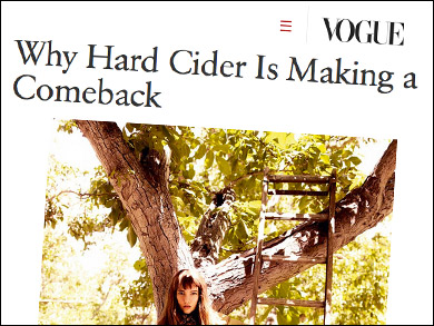 "Vogue:  ""Why Hard Cider is Making a Comeback"" ""Top picks for anyone new to the cider category"" including Albee Hill by Eve's Cidery and Pack Basket by South Hill Cider — both collaborators here at the Cider House!  Come taste these ciders and many more on tap and in the bottle."