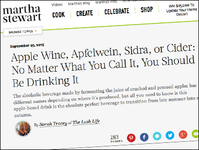"Martha Stewart:   ""     No Matter What You Call It, You Should Be Drinking It""     Great review of Autumn's Gold by Eve's Cidery, ""one of the top producers in New York's Finger Lakes region"" and a partner cidery of the Cider House."