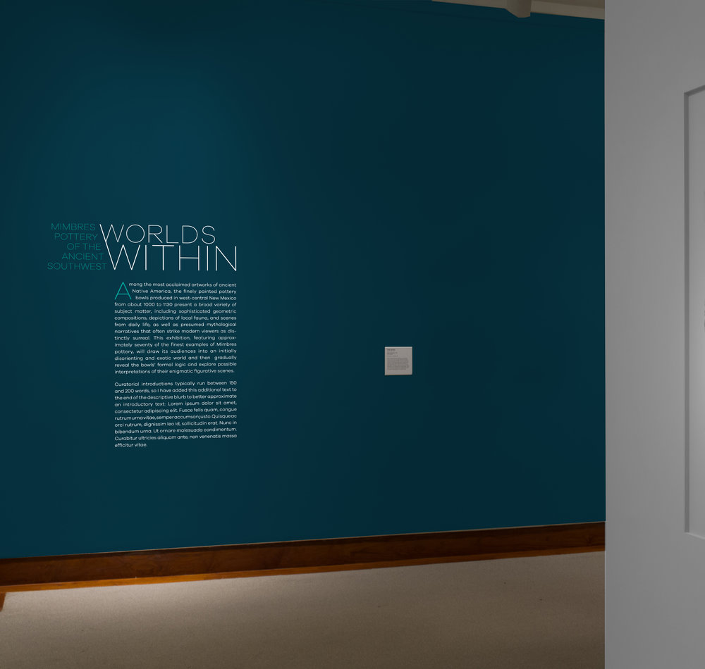 Exhibition title and wall text inside gallery, Option1.Wall Color: Benjamin Moore Hidden Sapphire