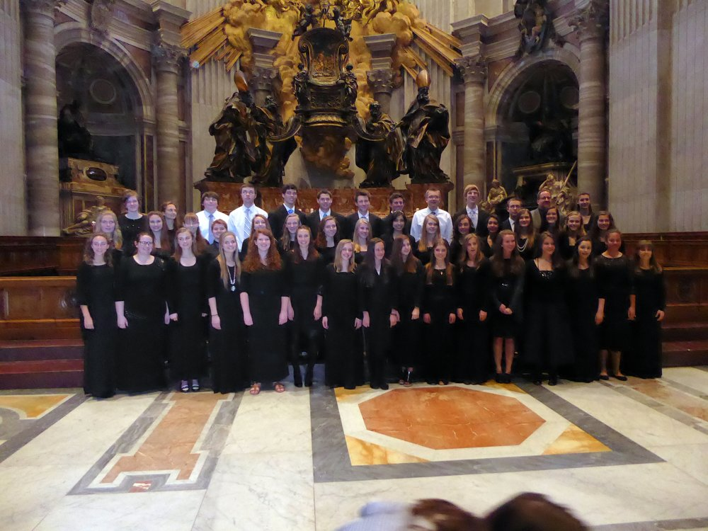 Italy 2015 - In 2015 the Ralston Valley Music Department traveled to and performed in Venice, Florence and Rome Italy. 45 Ralston Valley Choir students had the honor of being selected to sing at High Mass in St. Peter's Basilica in the Vatican the Saturday before Palm Sunday.