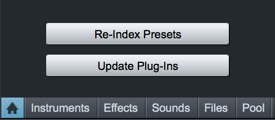 PreSonus Studio One Browser Re-Inex Plug-Ins