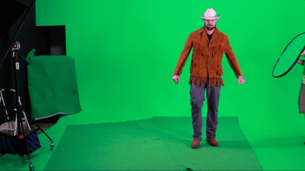 Here is a screen shot of the green screen footage we used for our cowboy.