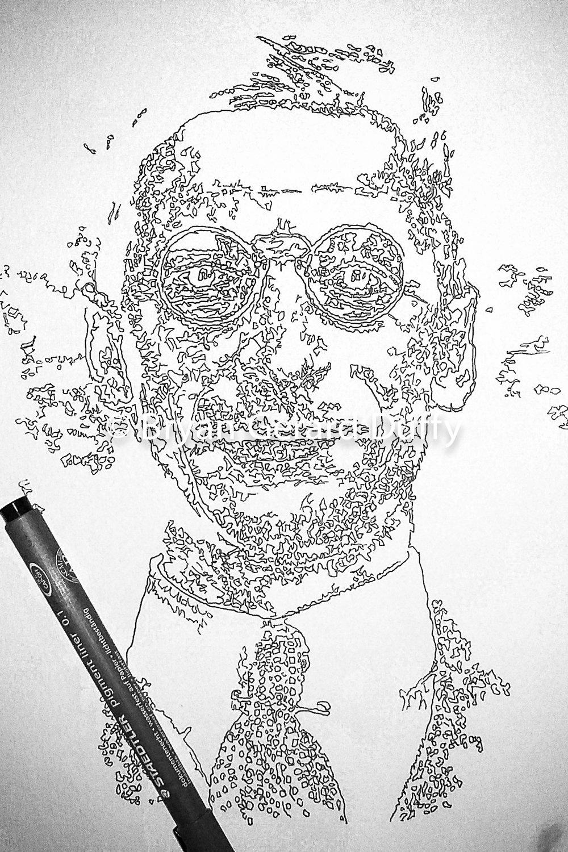 Eamon De Valera, 2016   Line Drawing on paper, 21cm X 29.7cm, 2016  1916 Centenary
