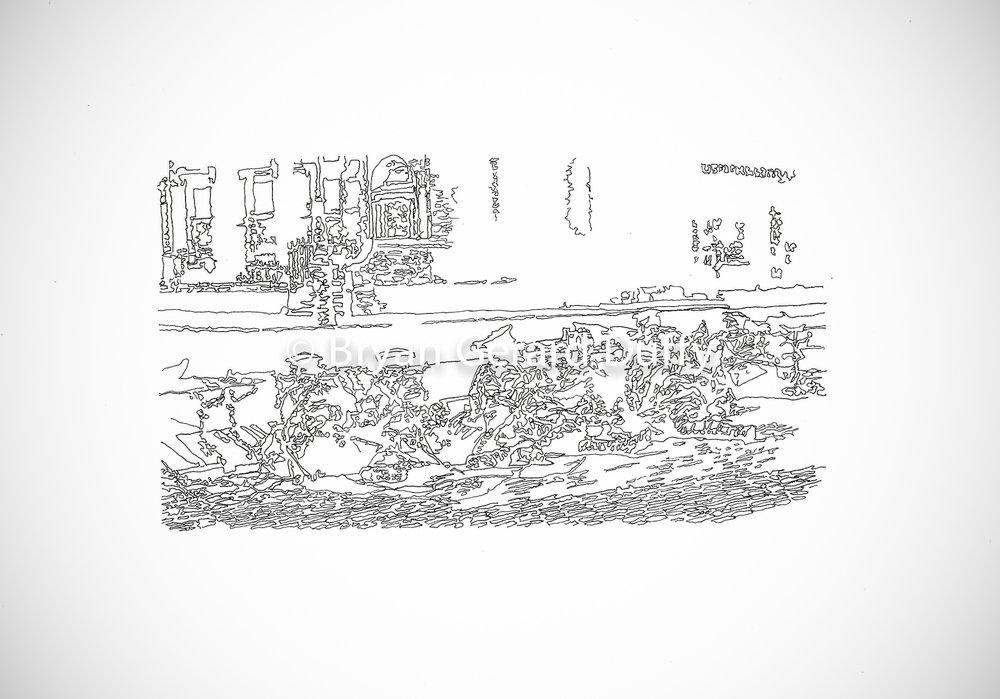 SANDBAGS, 2016   Line Drawing on paper, 21cm X 29.7cm, 2016  1916 Centenary