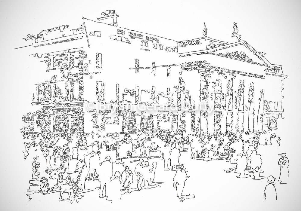 GPO, 2016   Line Drawing on paper, 21cm X 29.7cm, 2016  1916 Centenary