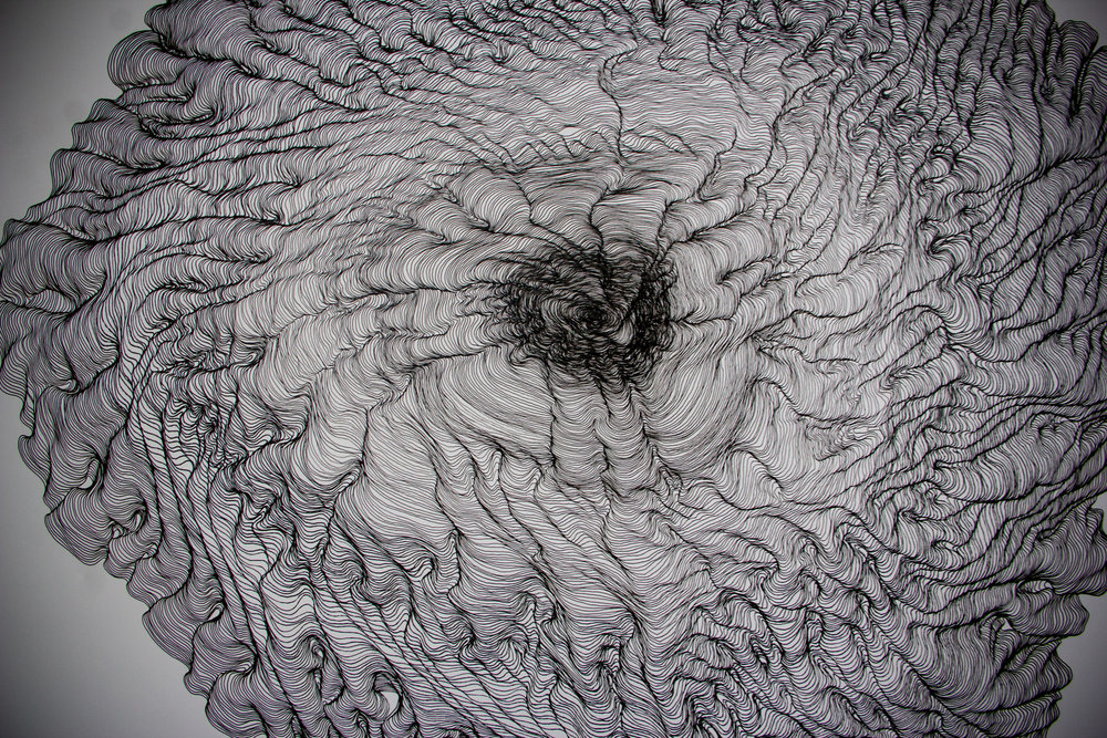 32 hour drawing, 2015 (Detail)   Line Drawing on paper, 1.5m X 1.5m