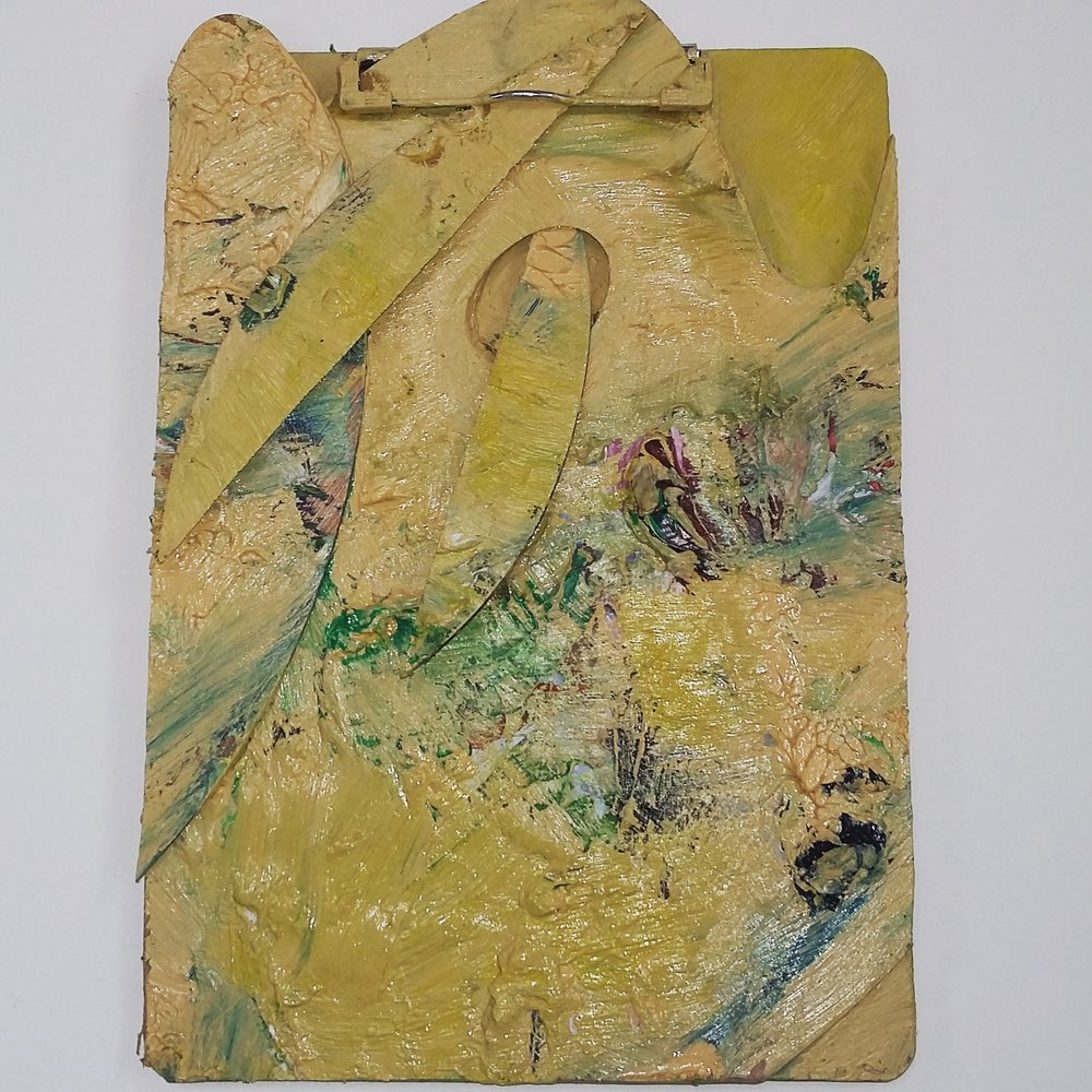 Damaged Pallet, 2015   Oil on Clipboard, Mixed Media  23cm X 32cm