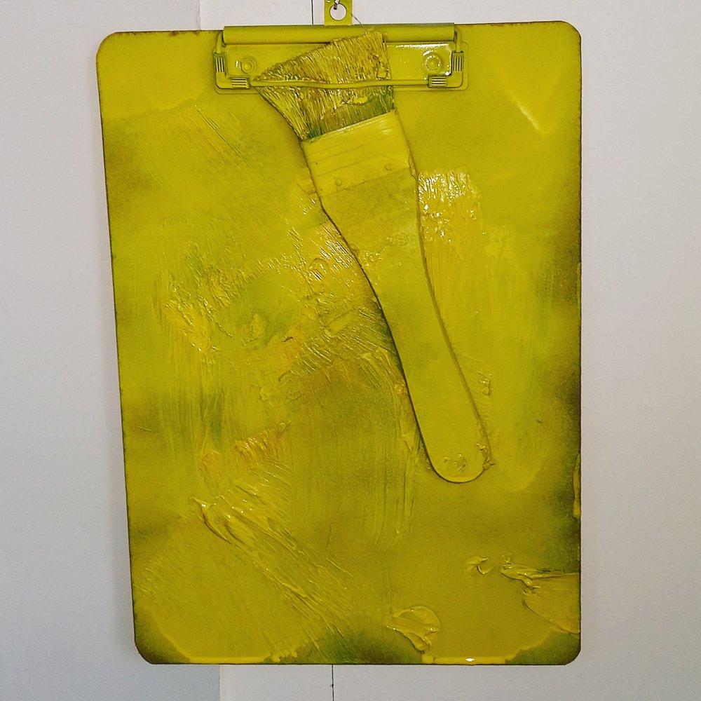 Brush work, 2015   Spray paint on Clipboard, mixed media  23cm X 32cm