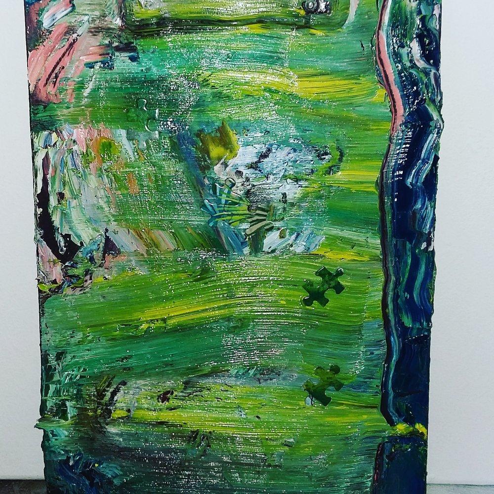 Green piece, 2015   Oil on Clipboard  23cm X 32cm