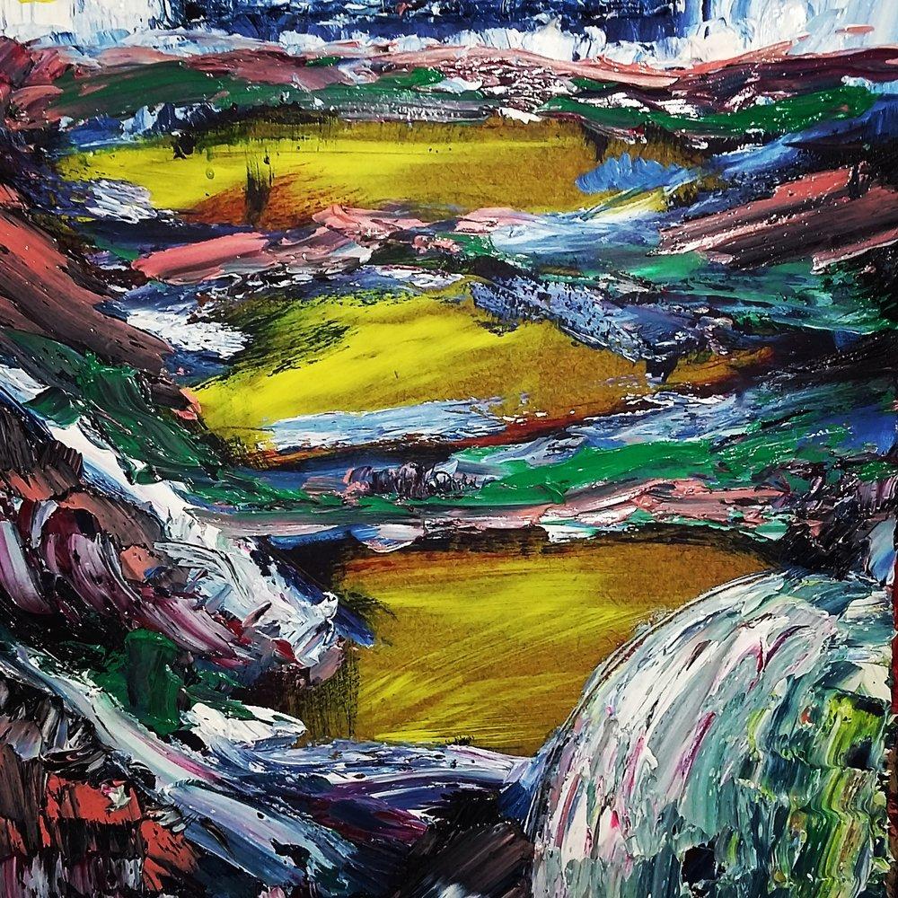3 lakes, 2015   Oil on Clipboard  23cm X 32cm