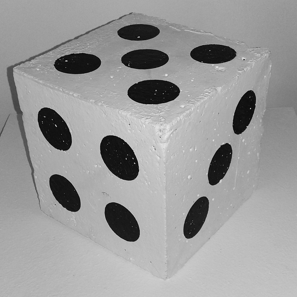 Dice, 2015   Concrete cube, emulsion white paint, permanent marker
