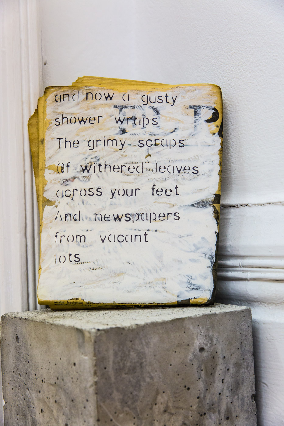 Yesterdays News, text on newspaper, 2014   El Paso Newspaper (27th February 2012), concrete block, acrylic paint, permanent marker