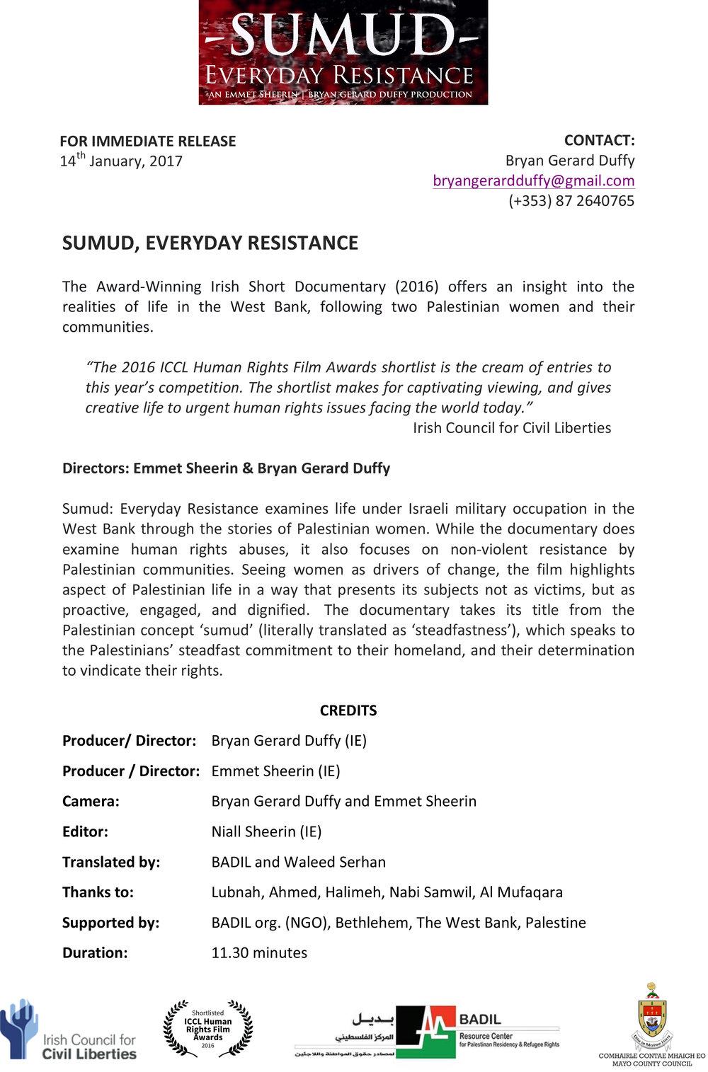 Sumud Press Release 2016
