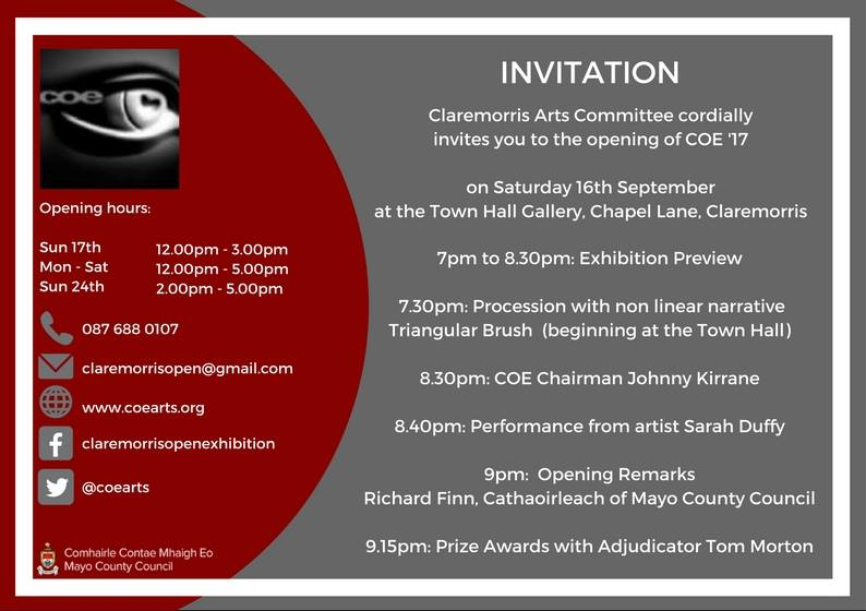 Claremorris Open Exhibition COE 2017 Annual - Curator and Adjudicator Tom Morton