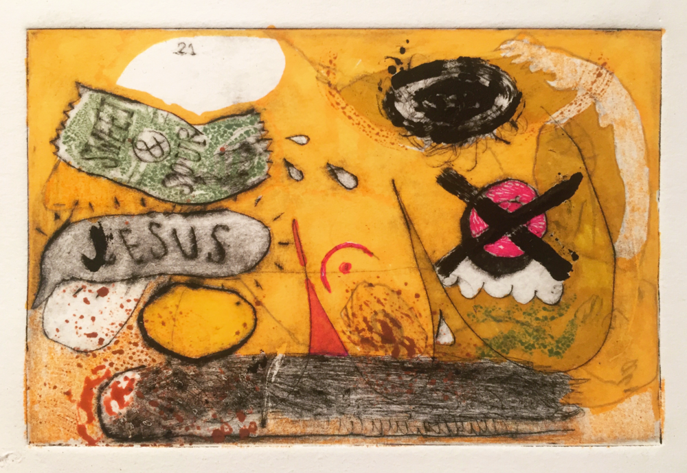 sweet & sour Jesus    drypoint and marker   dimensions: small   2015