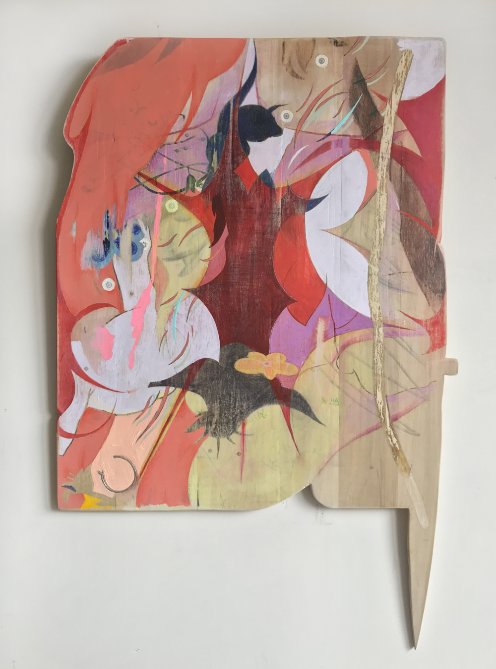Touga Apologist  | acrylic, colored pencil, and earring from the 5th grade on board | 26 x 17 |2019