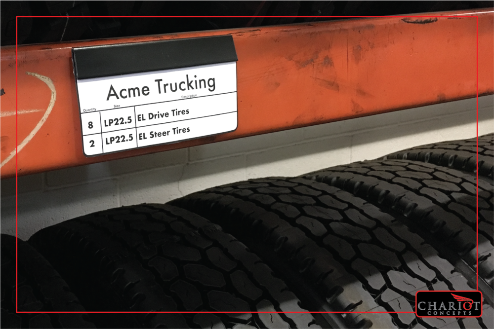 Need a way to identify sets of customer tires in your truck tire storage area? Want to keep work orders and invoices with sold tires? Want a simple way to just label the truck racks so employees know where to find certain sizes or types or brands? The Slat&Rack Signpost attaches permanently with double-stick foam tape. You just switch out the signs as needed.