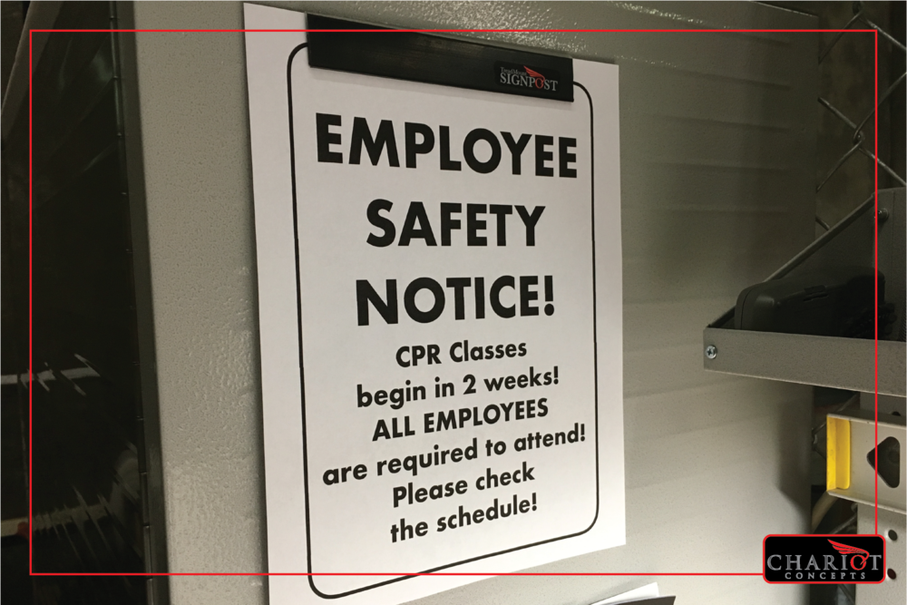 What about government mandated safety notices or training schedules? Pick a permanent spot so your employees always know where to look, then simply change out the notices as they are updated. Works also for customer notices when you want to inform about holiday schedules or store policies.
