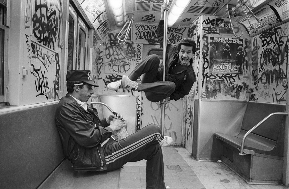 Carlos and Boogie on the 6 train, 1984 - Photo By: Ricky Flores