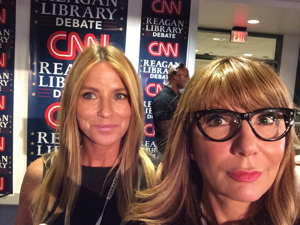 With Dorothy Lucey on the floor of the spin room at GOP debate
