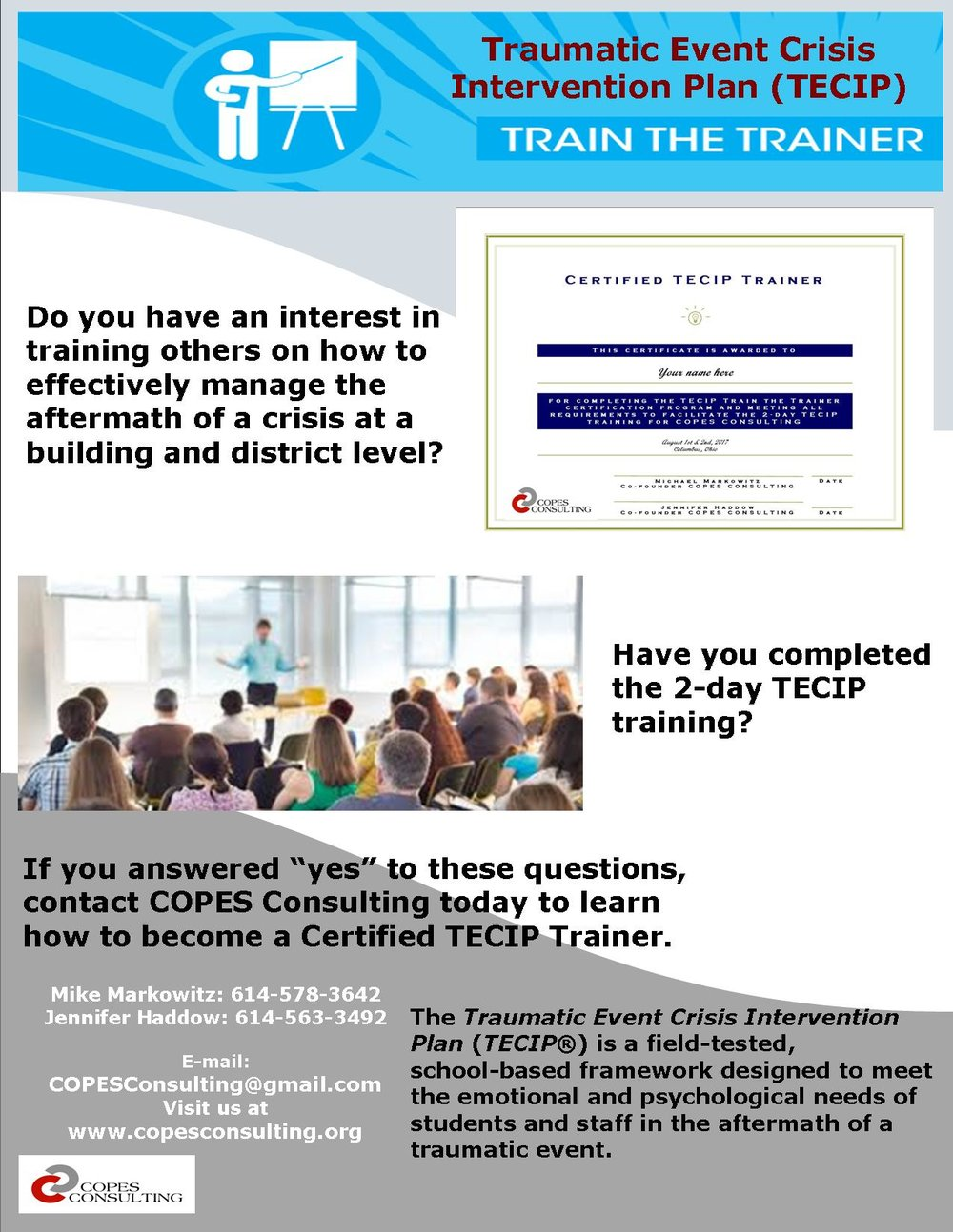 Tecip Train The Trainer Certification Copes Consulting