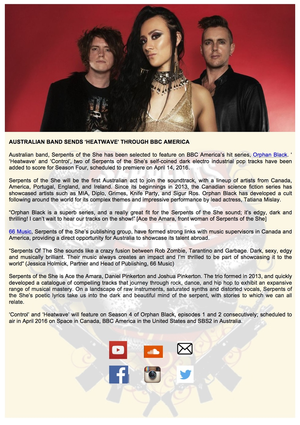 Press Release by Ace the Amara, created for Serpents Of The She (Australian band) 2016.