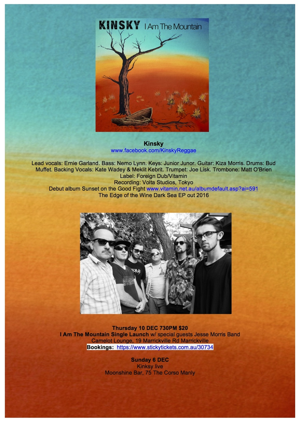Press Release by Ace the Amara, for Kinsky (Australian roots reggae band)