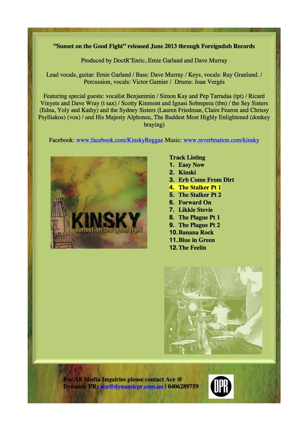 Press Release by Ace the Amara, created for Kinsky (Australian band)