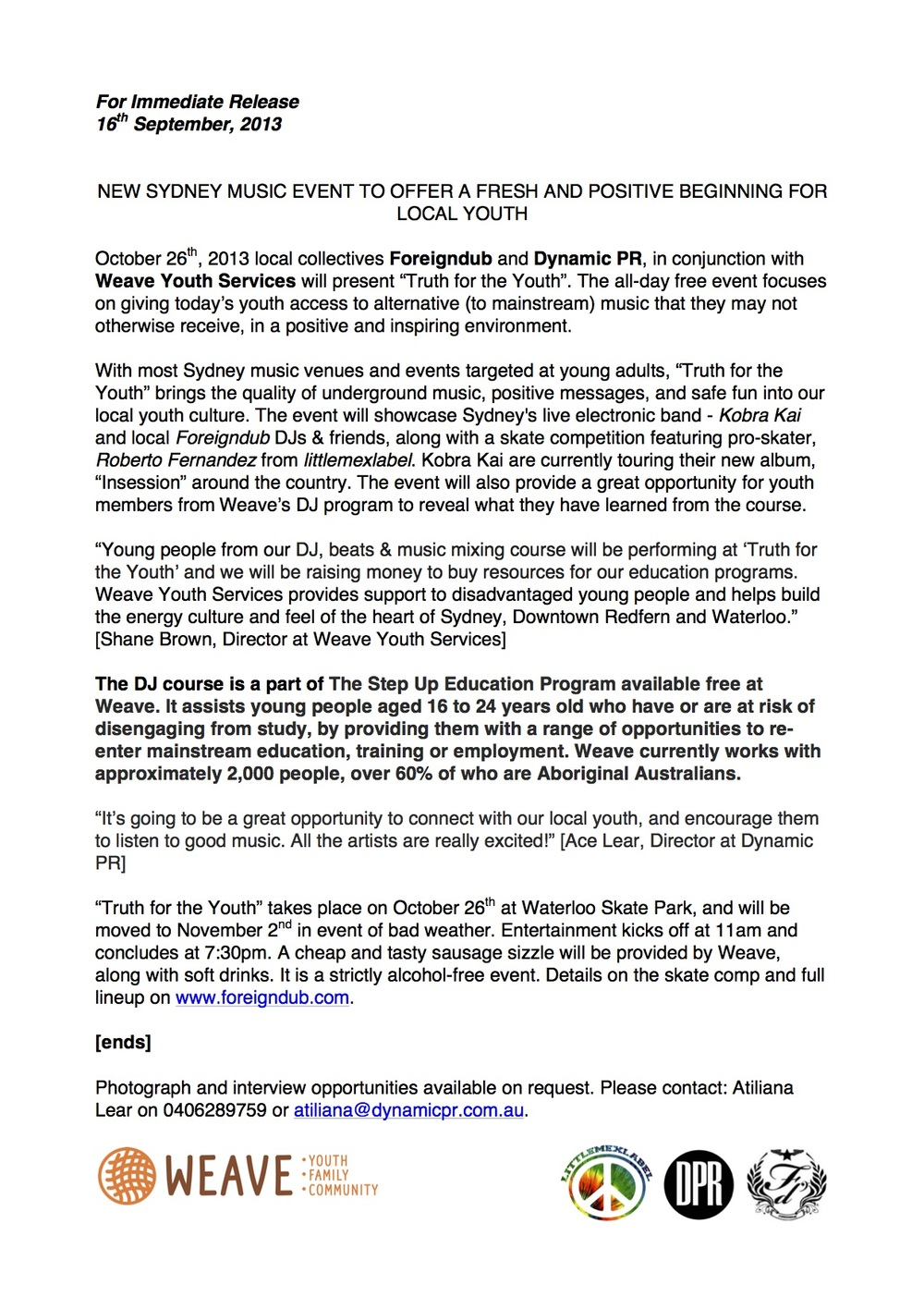 Press Release by Ace the Amara, created for Truth For The Youth (Music Event). 2013