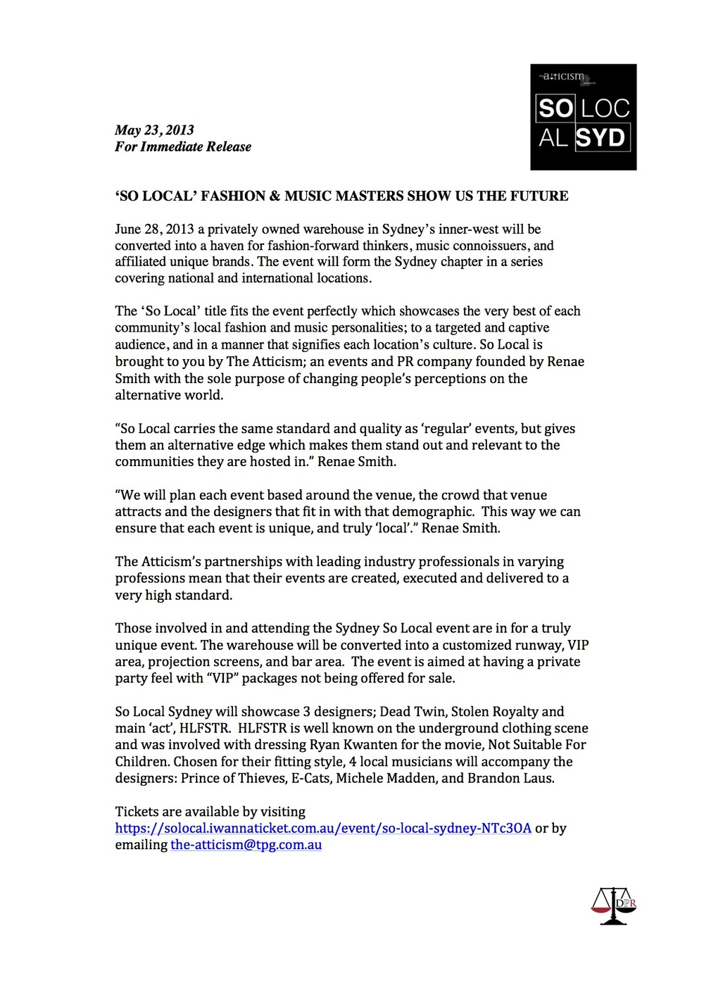 Press Release by Ace the Amara, created for So Local (Australian music and fashion event)