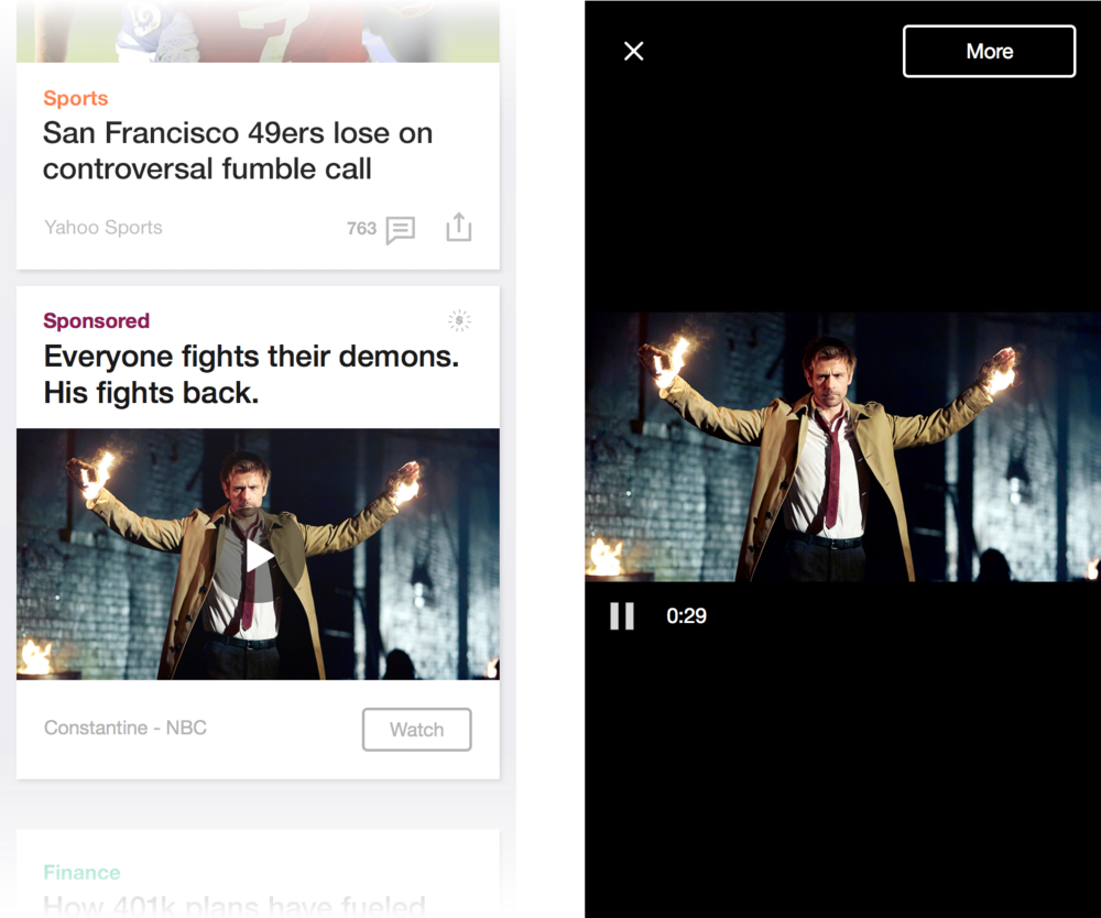Video Ads   Video ads will silently auto-play from the stream, but expand to a full screen mode when clicked, at which point sound becomes enabled. Full-screen also supports landscape mode.