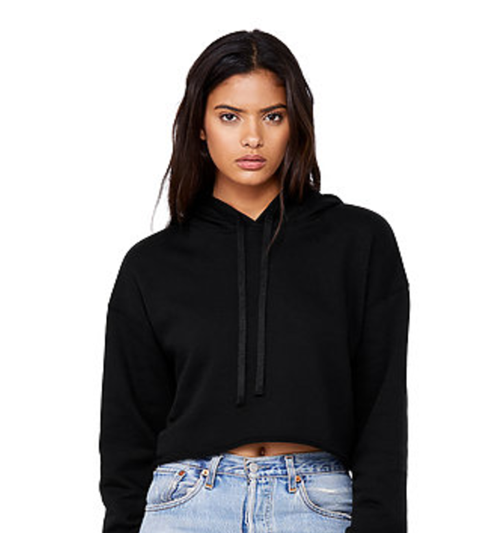 #032 BLACK CROPPED HOODIE   Features:  Dyed-to-match drawcord, raw hem, dropped shoulder. 60% combed and ring-spun cotton, 40% poly fleece   Sizes:  S, M, L   Retail:  $52   Wholesale:  $26   Minimum Order:  6