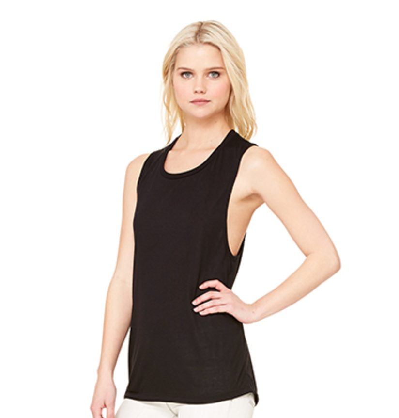 #033 BLACK FLOWY MUSCLE TEE   Features:  Sideseamed. Relaxed, drapey fit. Low cut armhole. Curved bottom hem. 65% poly 35% Viscose   Sizes:  S, M, L, XL, 2XL   Retail:  $32   Wholesale:  $16   Minimum Order:  6