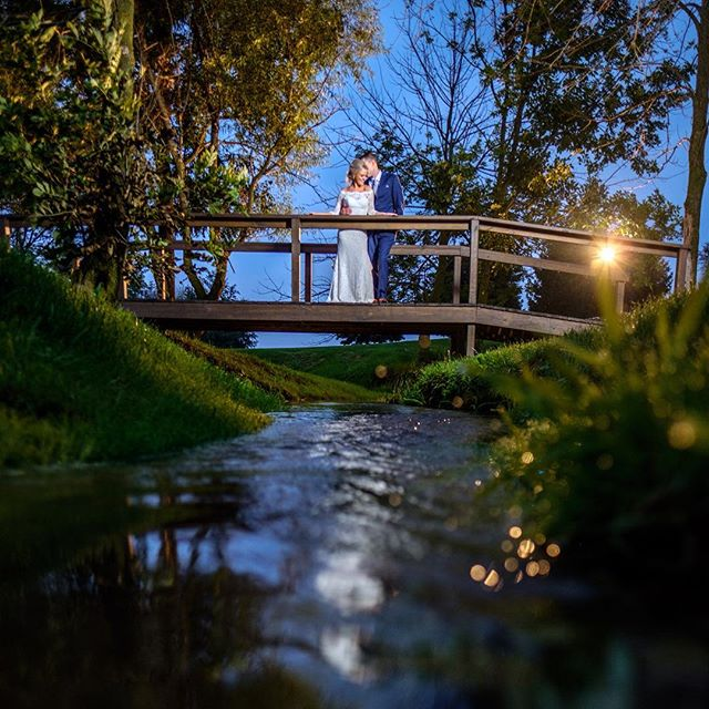 So many good locations last night! Finally decided on this little bridge for twilight photos. Stay tuned cause there's some fantastic shots coming up later this week! #weddingphotography #indianapoliswedding #lowlightphotography #brideandgroom #barnwedding