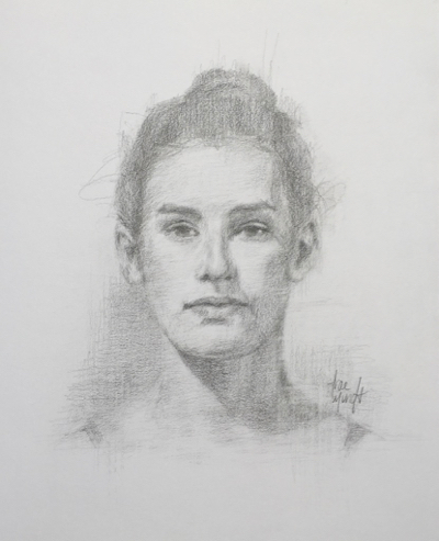 """Title: Ready, Set, Go!  10'H x 8"""" W Graphite Drawing  $275"""