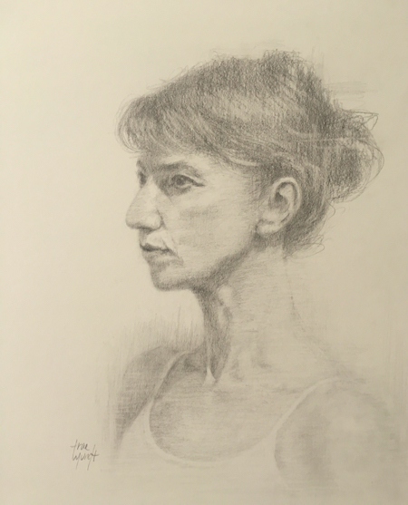 """Title: About to Dance  13"""" H x 10.5""""W Graphite Drawing  $430"""