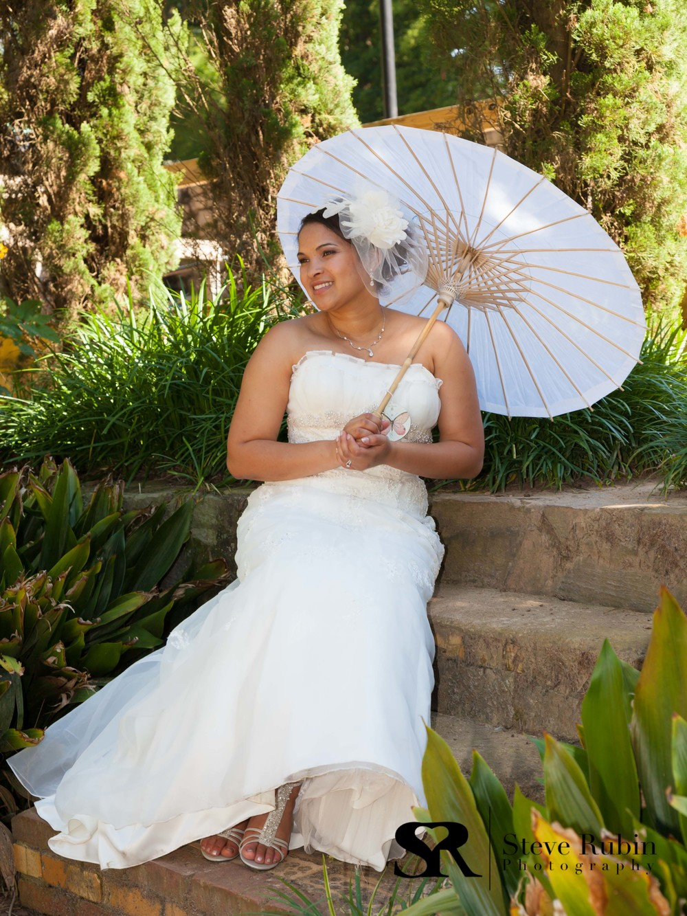Bride with Parasol at Raleigh Rose Garden