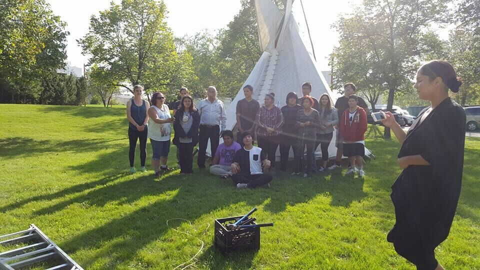 Tipi Raising with Elders at National Gathering -