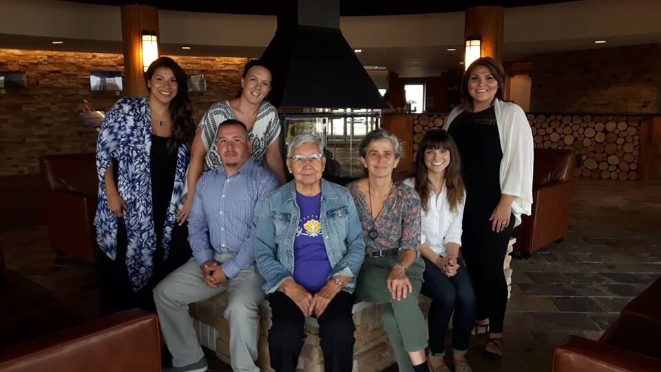 2nd IYMP YAHL Gathering & Eastern Door Meeting - Elder Rita Courbiere with leaders from Wiikwemkoong and Kahnawá:ke metting to discuss progress on IYMP in Little Current