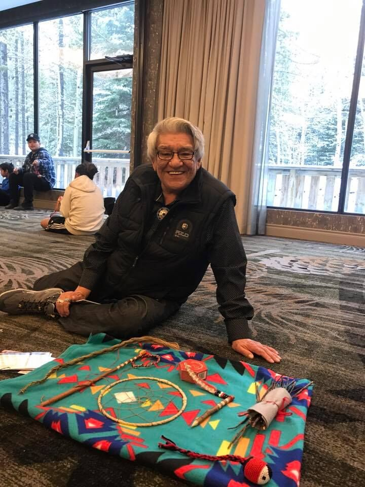 Elder Jack Robinson at 2nd IYMP National Gathering - Everactive Schools Resilience Summit and IYMP collaborated on providing traditional games teachings for IYMP team members