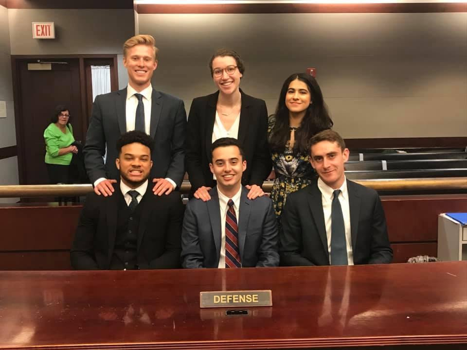Defense Team :  Front Row (Attorneys): Johanne Karizamimba (CC '20), Andrew Yablonsky (GS '20), Jaden Jarmel-Schneider (CC '22)  Back Row (Witnesses): Hardy Hewson (GS '19), Jodi Lessner (BC '20), Mashell Rahimzadeh (BC '20)