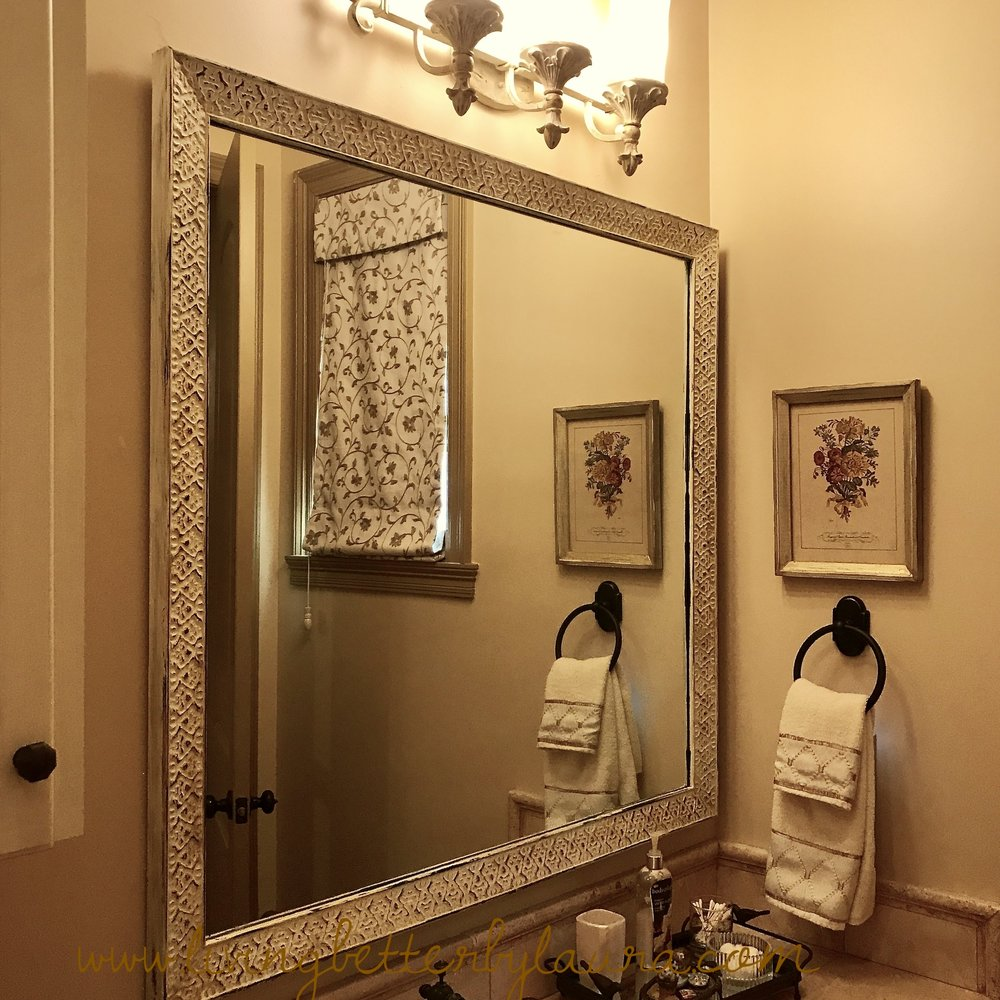 After: distressed mirror guest bath #2