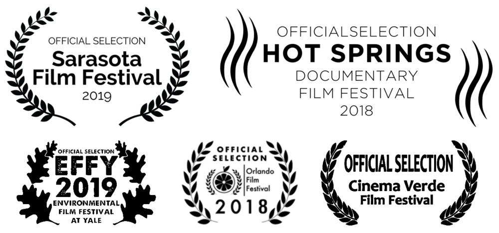 Official Selection Sarasota Film Festival 2019, Official Selection Hot Springs Documentary Film Festival 2018, Official Selection Environmental Film Festival at Yale 2019, Official Selection Orlando Film Festival 2018, Official Selection Cinema Verde Film Festival 2019