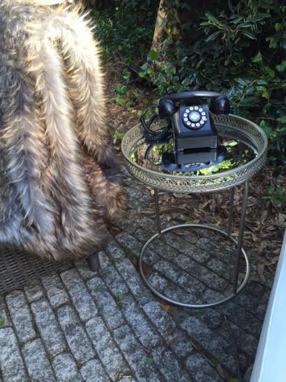 Vintage Phone with our furry blanket to keep guests warm at Walker World Organic Artist Retreat