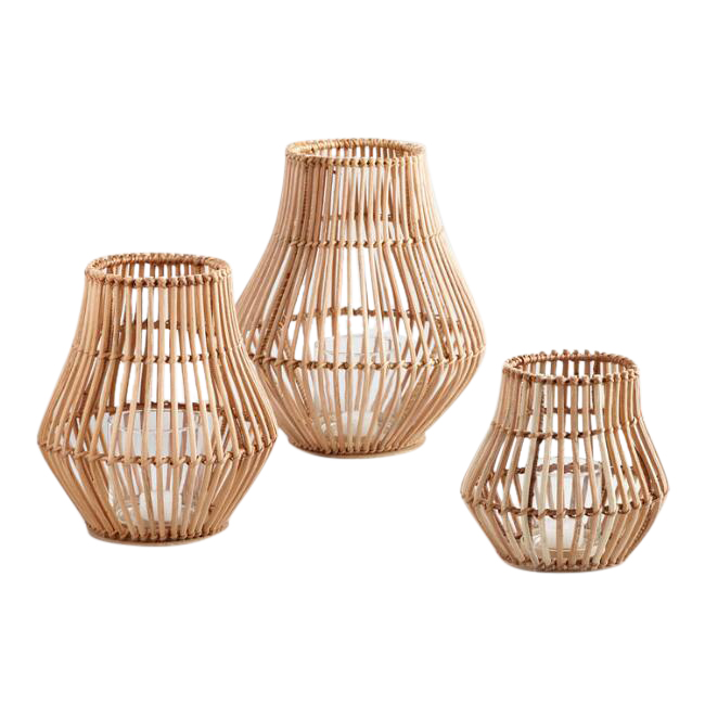 Light Brown Rattan Lanterns (3)