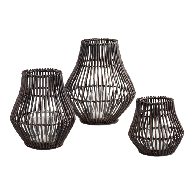 Dark Brown Rattan Lanterns (3)